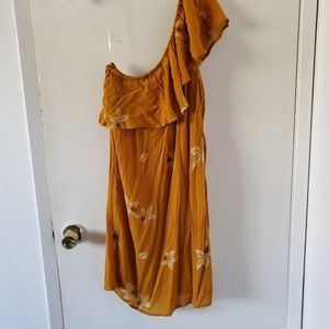 NWT One shoulder Mustard Dress